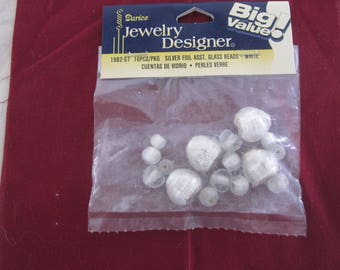 Silver foil asst glass beads, white, heart and round
