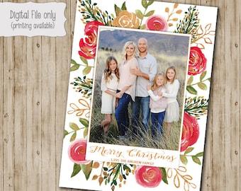 Happy Holidays Christmas Card, Photo Christmas Cards, Photo Holiday Cards, Holiday Cards, Watercolor Floral, Gold Glitter Christmas