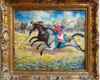 Polo Mongolia, original oil painting with hand-carved frame