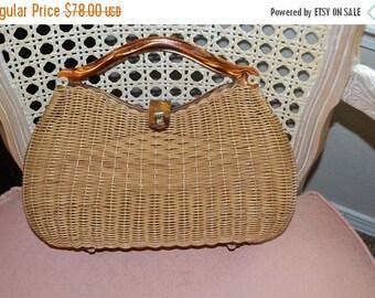 On Sale Morton Williams Sweet Wicker Bag~ Wicker Bag ~ Lucite bag~Jackie O~1960's~Flordia USA