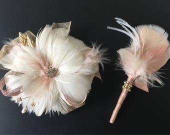 Wrist Corsage,Rose Gold corsage,Blush corsage,Boutonniere,Gatsby Wedding,Alternative boutonniere,Wedding corsage,Feather boutonniere
