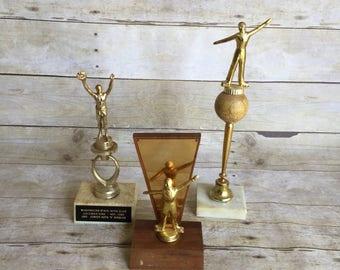 Set of Three Large Vintage Trophies - Trophy - Gold