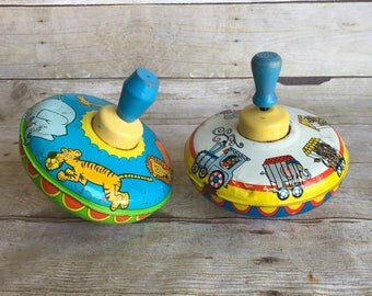 Set of Two Vintage Tin Spinning Tops - Zoo - Circus - Train - Retro Metal Toy