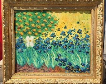 Vintage Oil on Canvas Brilliant Bloom Iris Flower Spring Painting Impressionism