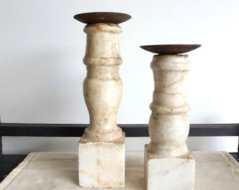 Marble Candlesticks Antique Candlesticks Set of Two Stone Candlestands Shipping Included in the U.S.