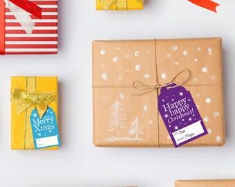 Printable Christmas Gift Tags, Printable Xmas Colourful Holiday Tag Labels
