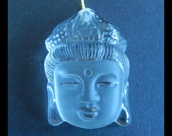 AAA,  Natural Quartz  Carved Buddha Head  Pendant Bead,37x26x12mm,20.4g(f0733)