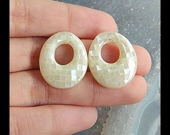 New,M.O.P Intarsia Cabochon Pair,23x19x5mm,4.8g(Cpa064)