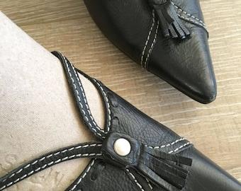 Vintage Enzo Angiolini  Shoes, Black Leather  Heels, Black Leather Shoes, Enzo Angiolini  7