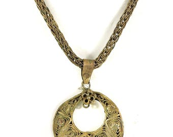 Yoruba Necklace Brass Braided Chain Africa 28 Inch 109038