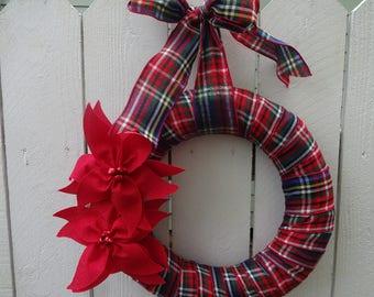 Christmas Wreath  Poinsettia Wreath Jingle Bell Wreath Holiday Wreath  Christmas Decor  Wreath  Door Wreath