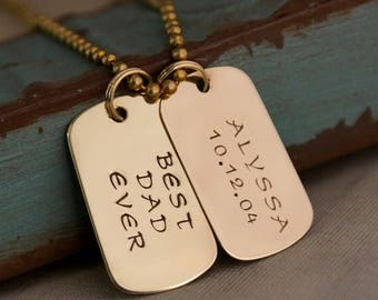 Father's Day Gift / Hand Stamped Brass Dog Tags / Personalized Jewelry for Him / Brass Dog Name Tag with kids name and date DUET