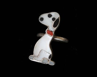 RARE!! Snoopy Zuni Ring / Native American Southwest ZUNITOON Inlaid Stone and Silver Ring