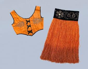 RARE! 1920s Showgirl Costume / 20s - 30s Burlesque Corset Top and Ombre Fringe Skirt / Rhinestone Designs!