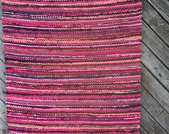 Hand woven rag rug 2.3 feet by 5.24 feet(70cm x 160cm)  colors plum, eggplant, old pink.ready for sale