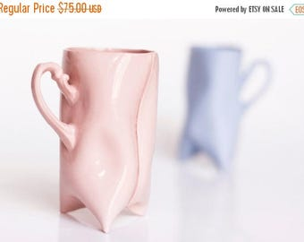 SALE Porcelain cups set of blue and pink , ceramic cups handbuilt for coffee or tea by Endesign