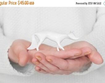 SALE White fox porcelain figurine - Ceramic Porcelain figurine sculpture white bone china porcelain