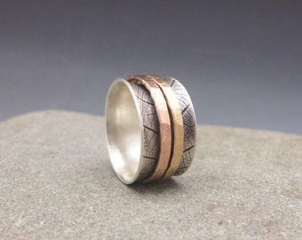 Leaf Print Spinner Ring Fidget Ring Worry Ring Meditation Ring with Yellow Gold and Rose Gold Spinners Oxidized Sterling Silver Band
