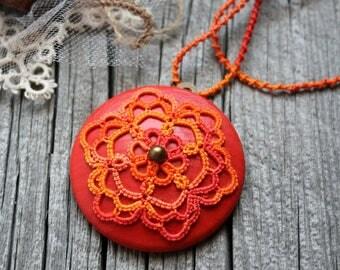 Orange Crush Artisan Medallion Mandala Fiber Tatting Long And Short Choker Pendant Necklace