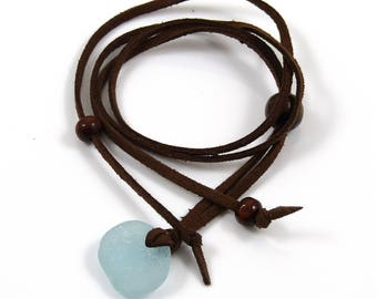 BOHO  Sea Glass and Faux Suede Long Necklace Adjustable Necklace Sea Glass Necklace Beach Jewellery Sea Glass Jewellery surfer b116