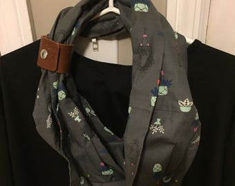 infinity scarf, Gray infinity scarf with brown leather cuff, valentine's day gift, gifts women, gifts for women, gift for her, fashion scarf