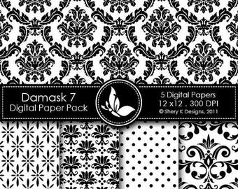 40% off Printable Damask Paper Pack 7 - 5 Digital papers - 12 x12 - 300 DPI