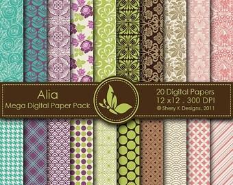 40% off Alia Mega Paper Pack - 20 Printable Digital Scrapbooking papers - 12 x12 - 300 DPI