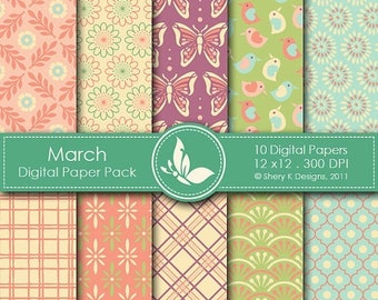 40% off March Paper Pack - 10 Digital papers - 12 x12 - 300 DPI