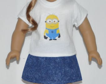 Minion Skirt Set Doll Clothes Made To Fit 18 Inch American Girl Dolls