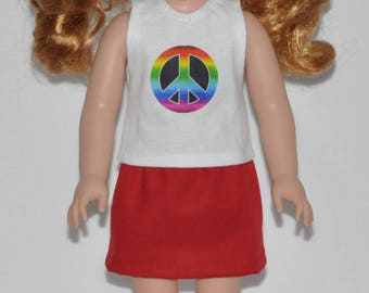 Rainbow Peace Sign Over Red Skirt Made To Fit Wellie Wisher