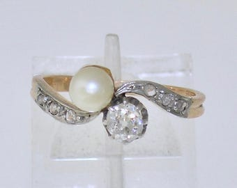 ANTIQUE Diamond & Pearl Crossover Ring~Edwardian Diamond Pearl Ring, Circa 1910