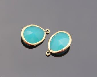 Jewelry Making Supplies, Gold Mint Teardop Pendant, Light Blue Glass Stone connector,  Gemstone Bead Pendant, 2 pc, JW8227