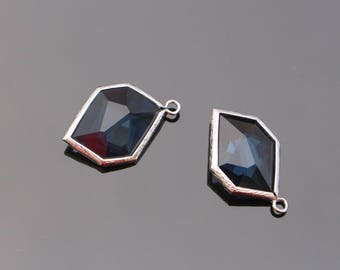 Jewelry Supplies, Silver Unique Glass Drop Pendant, Montana Blue Glass Stone, 2 pc, JW7134