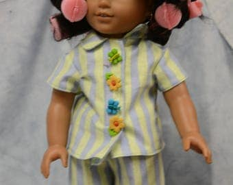 18 in doll clothes date night night out pajamas robe slippers curlers green blue white striped