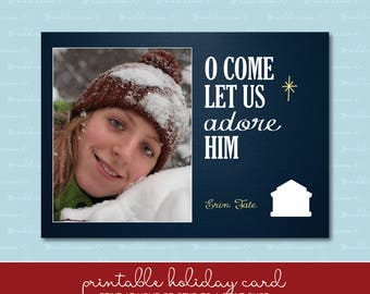 O Come Let Us Adore Him Christmas Card with Photo
