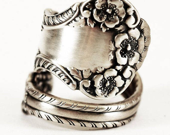 Buttercup Ring, Flower Ring, Sterling Silver Spoon Ring, Antique Gorham Silver, Cambridge 1899, 925 Floral Ring, Adjustable Ring Size (6451)