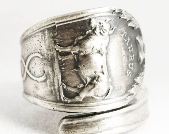 Taurs Ring, Sterling Silver Spoon Ring, Taurus Jewelry, Taurus Constellation, Taurus Astrology Gifts, Horoscope Ring, Custom Ring Size, 6882