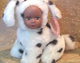 "Dotty a 5"" plush teddy bear dalmation with African American porcelian face"