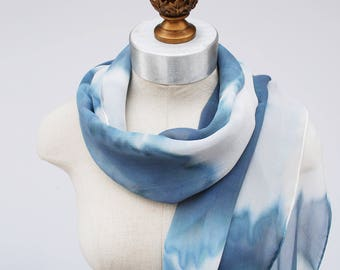 rosarch pattern pattern gray blue white silk chiffon scarf by 88editions