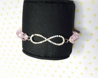Infinity Bracelet, Pink crystals, stretchy, beaded, layering, handmade, item no. L432