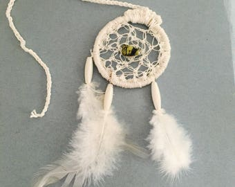 White Dream Catcher, Wedding Gift, Car Mirror Decor, Cotton, Feathers, Item No. De050A