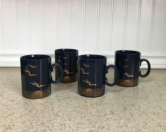 Vintage Otagiri Japan Set of 4 Seagull Coffee Cups/Mugs, Nautical Mugs