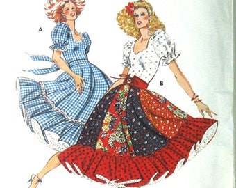 Vintage Square Dance Dress Pattern, Bust 38, Country Western Dress Pattern, Country Dance Dress, Kwik Sew 914