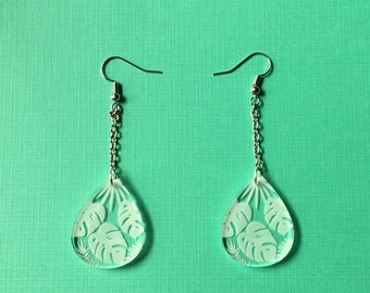 Clear monstera drop earrings