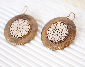 Large Rose Gold Earrings, Rose Gold Disc Earrings, Rose Gold Large Earrings, Boho Rose Gold Earrings, Rose Gold Gift Ideas, For Brides