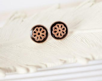 Rose Gold Flower Stud Earrings, Rose Gold Studs, Rose Gold Post Earrings, Black Stud Earrings, Small Earrings, Round Studs, Circle Studs