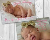 Birth Announcement Card 5x7/Digital File/Printable/Personalized Photo/Baby Announcement/Girl/Boy/Custom Announcement