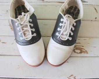 Vintage SADDLE OXFORD Loafers....sock hop. oxfords. retro. mod. lace ups. black and white. designer. 1980s. 1990s. oxfords. mad men. classic