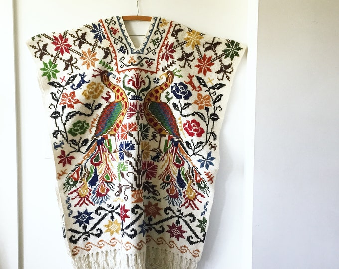 Featured listing image: Vintage 60s Mexican Hand Embroidered Poncho, Oaxaca Embroidered Cape