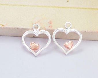 2 of 925 Sterling Silver Heart Charms 11mm. Two Tone Rose Gold & Silver .  :tt0005